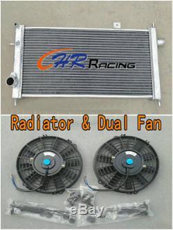 42mm Aluminum Radiator + 2 Fan For Opel Vauxhall Nova GTE GSi 2.0 16v Turbo