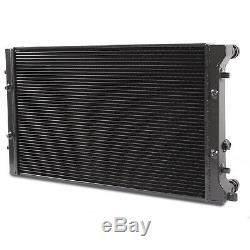 DIRENZA 42mm BLACK ALLOY RACE RADIATOR RAD FOR VW GOLF MK4 BORA 1.8T GTI 1.6 FSI