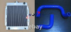 For DATSUN 1200 120Y B110 A12/T 1970-1976 3 ROW ALLOY RADIATOR + BLUE HOSE