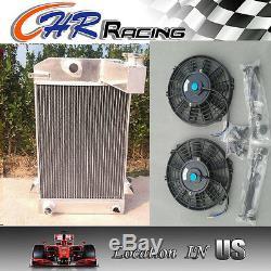 Hi-perf. 3 Row Aluminum Alloy Radiator Triumph Tr2/tr3/tr3a/tr3b Mt + 2x Fan