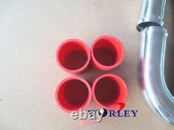 2.25 57mm Universal Alloy Aluminium Turbo Intercooler Tuyauterie Kits+tuyau Rouge