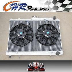 Radiateur En Alliage D'aluminium Et Ventilateurs Fit Nissan Skyline R33 Gts-t Rb25det Manuel
